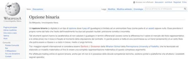 Che cosa sono le opzioni binarie wikipedia